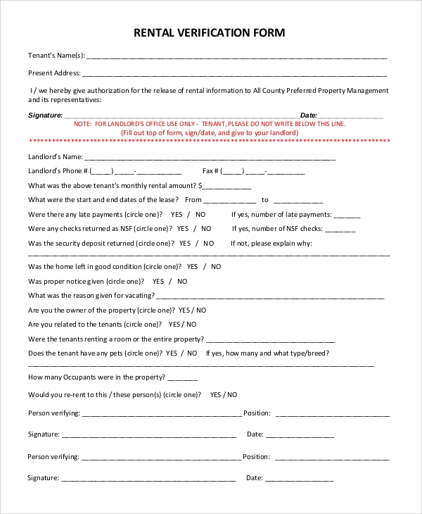 verification form rental agreement