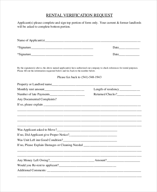 Sample Rental Verification Form 10 Examples in PDF Word – Employment Verification Request Form Template