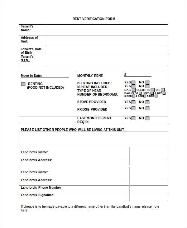 Sample Rental Verification Form - 10+ Examples In Pdf, Word