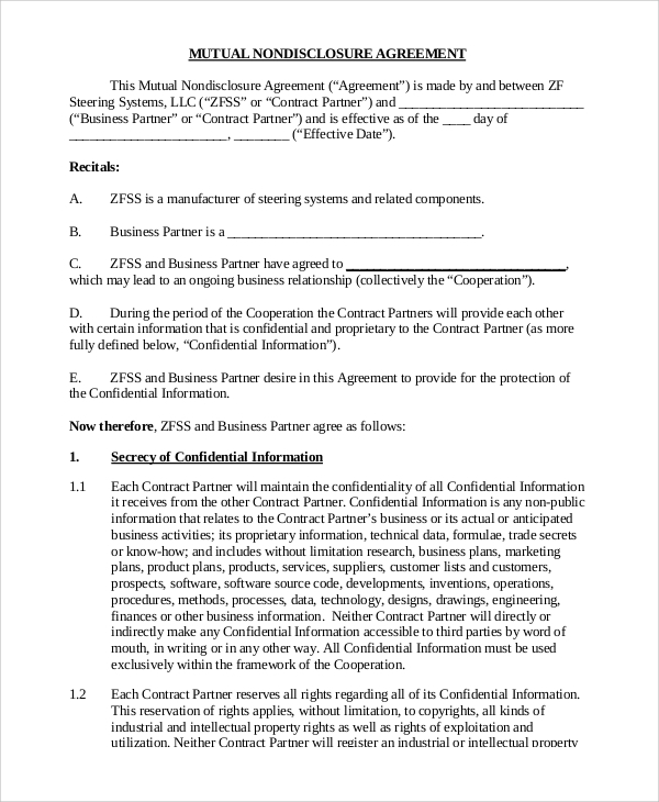 Sample Non Disclosure Agreement Form   Examples In Pdf Word