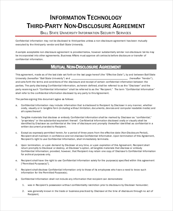 third party non disclosure agreement