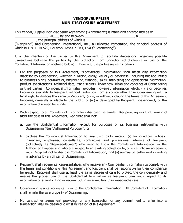 non disclosure agreement format for vendors