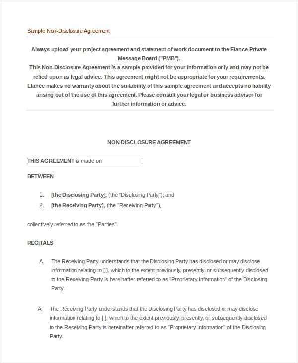 Sample Non Disclosure Agreement Form 10 Examples in PDF Word – Sample Non Disclosure Agreement