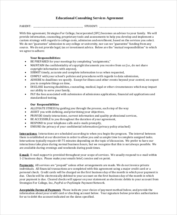 educational consulting services agreement