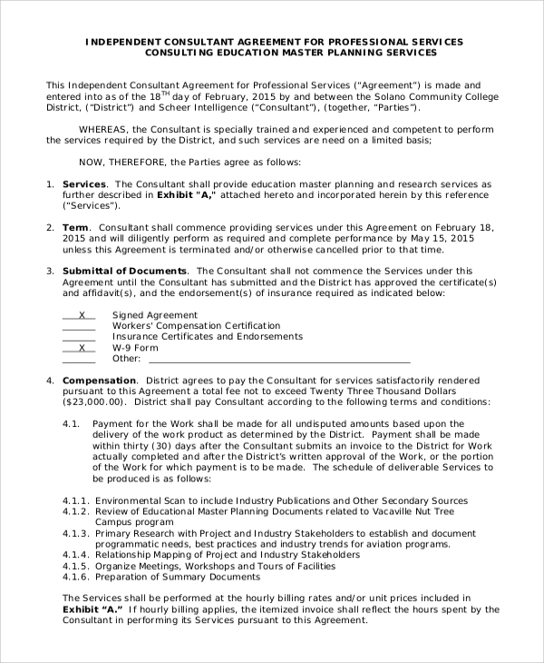 Sample Consulting Contract Template Example Industry Academic