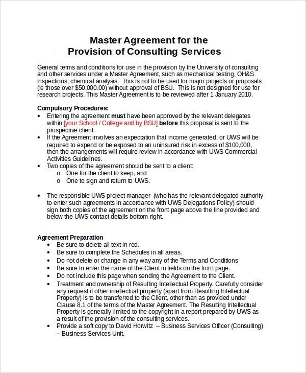 master consulting services agreement