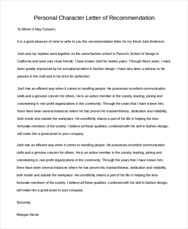 personal character letter of recommendation sample