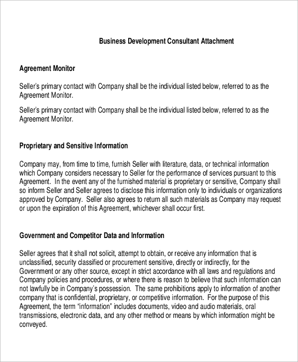business development consultant agreement