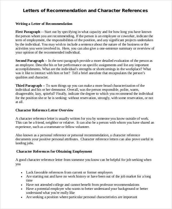 letters of recommendation and character reference
