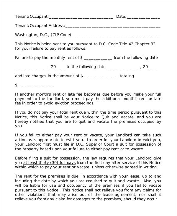 Sample of 30 Day Eviction Notice 7 Examples in Word PDF – 30 Eviction Notice Form