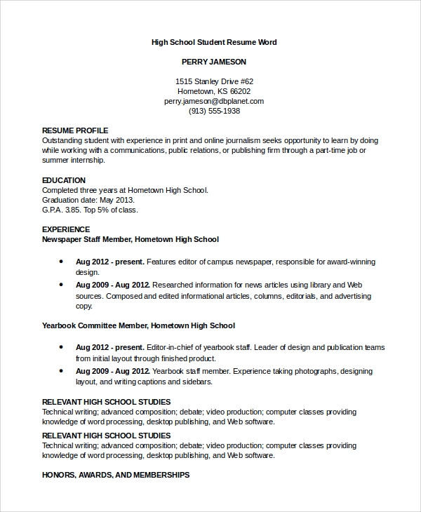 Sample High School Student Resume Word  Sample Resume Word