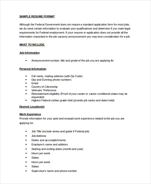 resume sample 8 examples in word