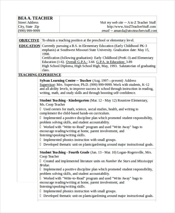 teacher resume word sample