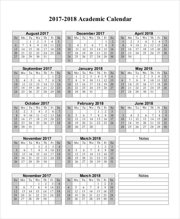 Sample Printable Calendar 10 Examples in Word Excel PDF – Sample Academic Calendar