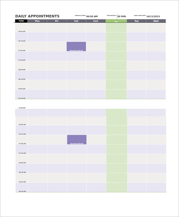 printable daily appointment calendar