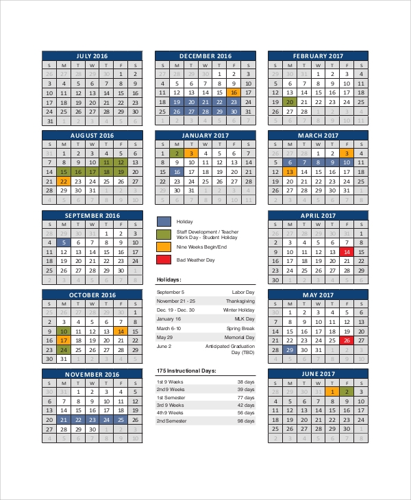 printable school district calendar