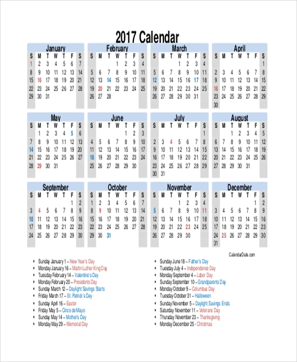 printable yearly calendar with holidays1