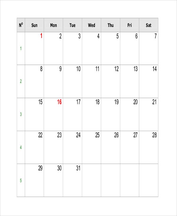 FREE 9+ Sample Printable Calendar Templates in MS Word ...
