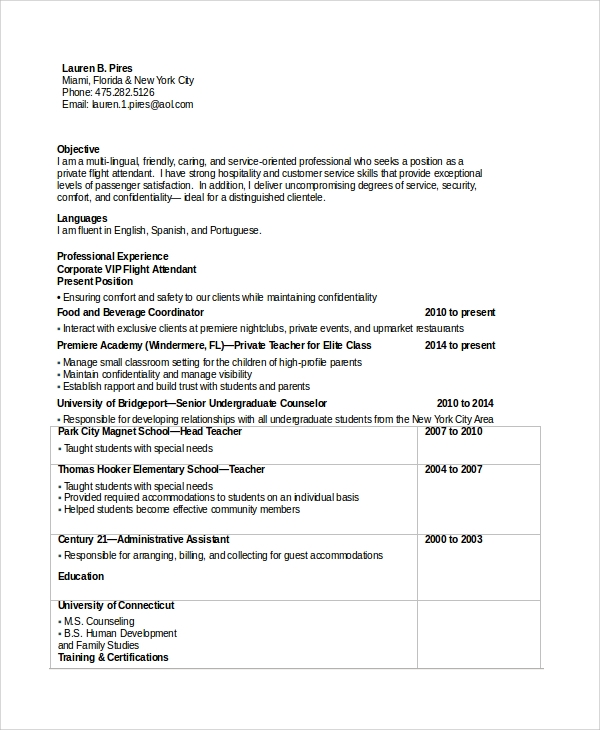 sample flight attendant resume 6 examples in pdf word
