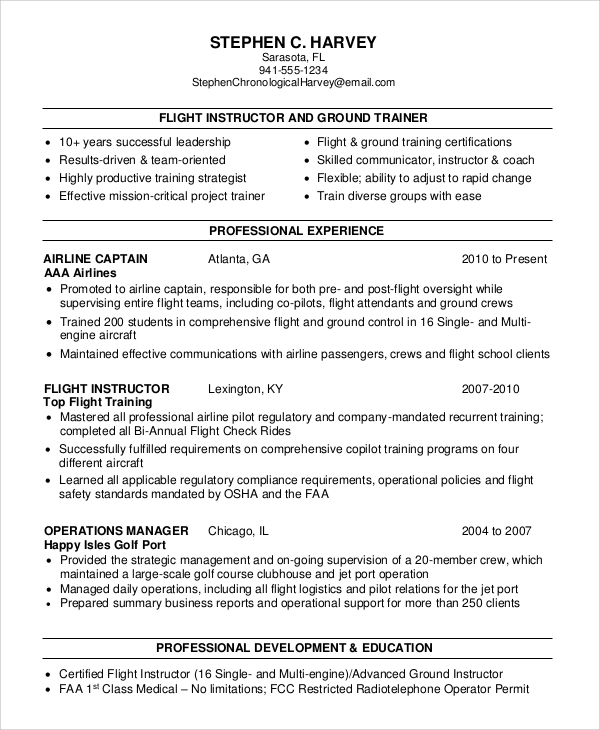 sample flight attendant resume