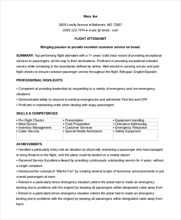 flight cabin attendant resume