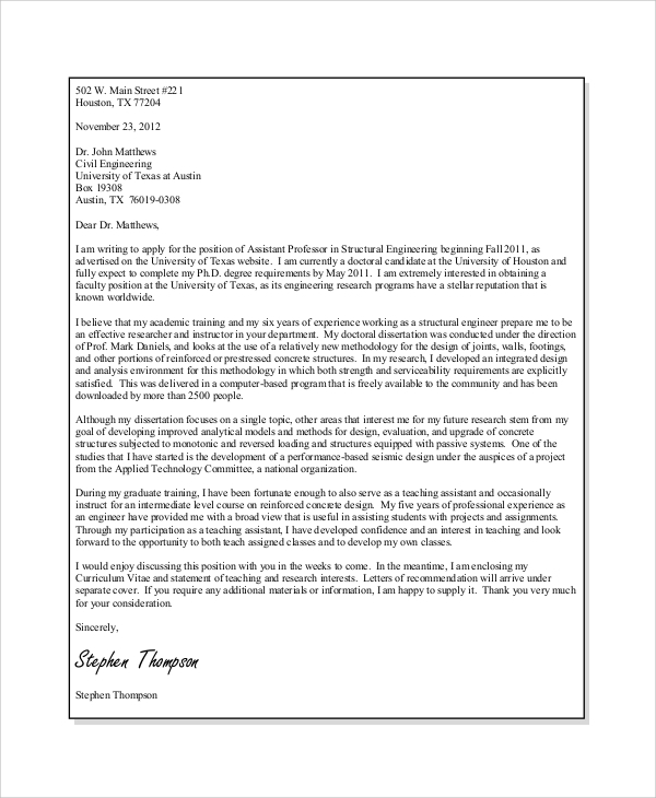 Faculty Application Cover Letter Examples