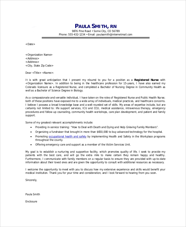 cover letter for registered nurse job application - Sample Cover Letters For Healthcare Jobs