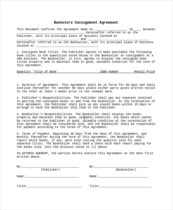 10 sample consignment agreements sample templates for Consignment store contract template
