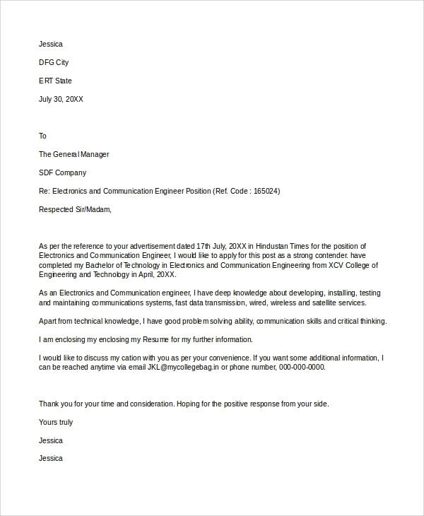cover letter for electronics engineer job application - Sample Cover Letter For Communications Job