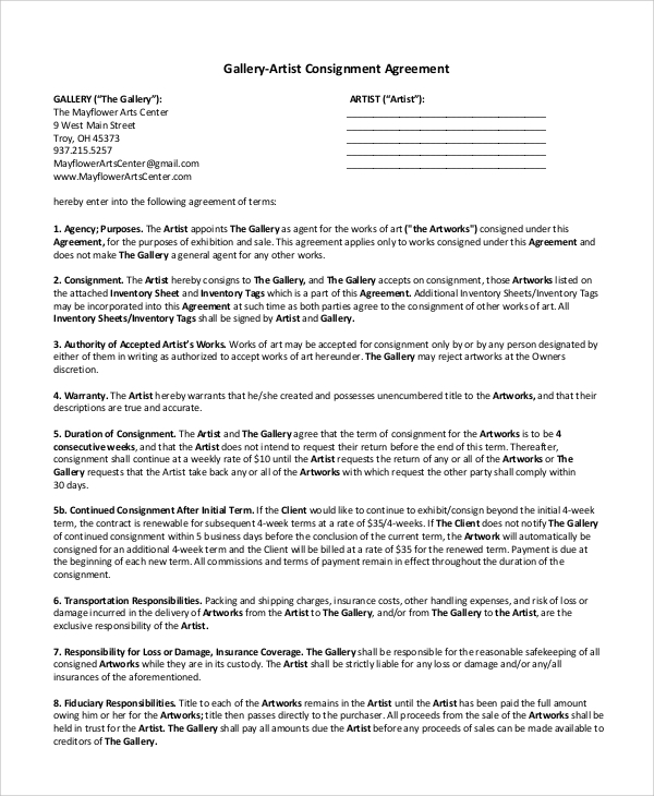 gallery‐artist consignment agreement