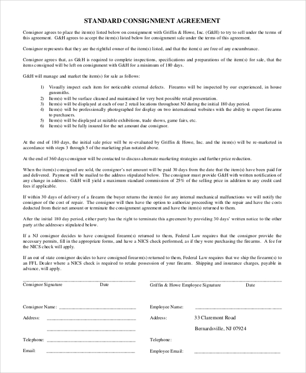 Standard Consignment Agreement  Export Agreement Sample