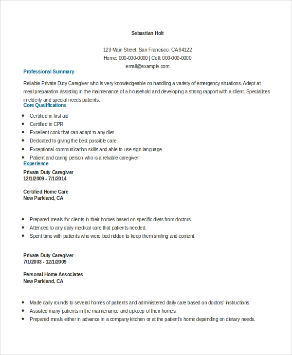Caregiver Sample Resumes