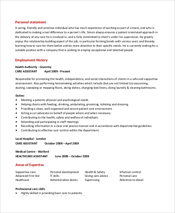 caregiver assistant resume