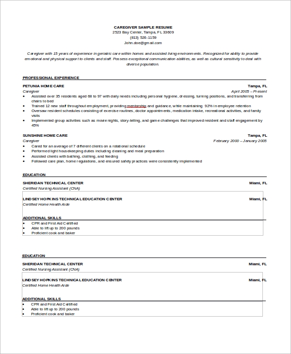 Sample Caregiver Resume   Examples In Word Pdf