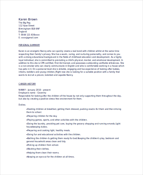 Resume For Babysitter Resume Cv Cover Letter. Sample Babysitter