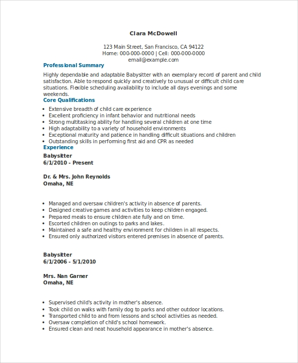 Babysitting resume example
