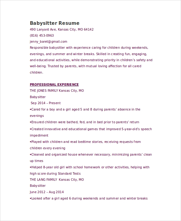 Doc618800 Babysitter Resumes Unforgettable Babysitter Resume – Another Word for Babysitter