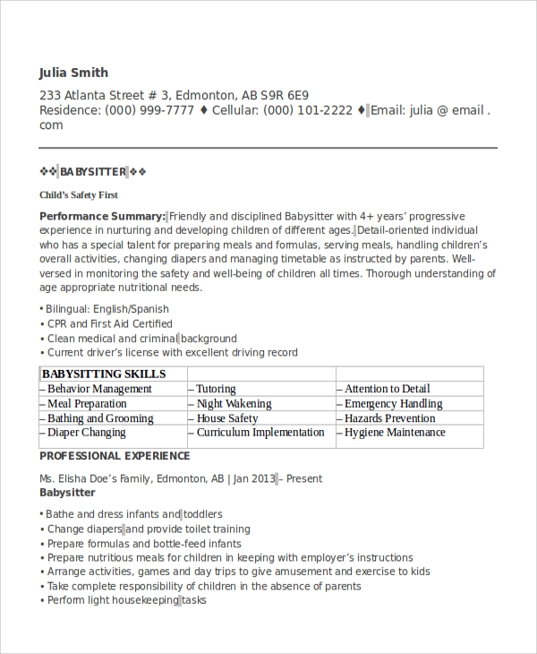 Babysitter Resume Template | Resume Format Download Pdf