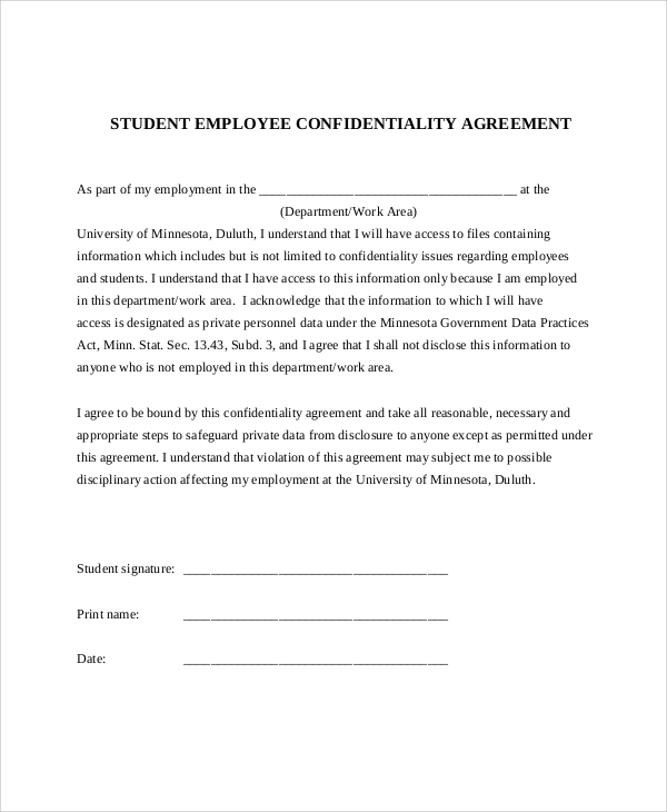 11 Sample Confidentiality Agreement Forms