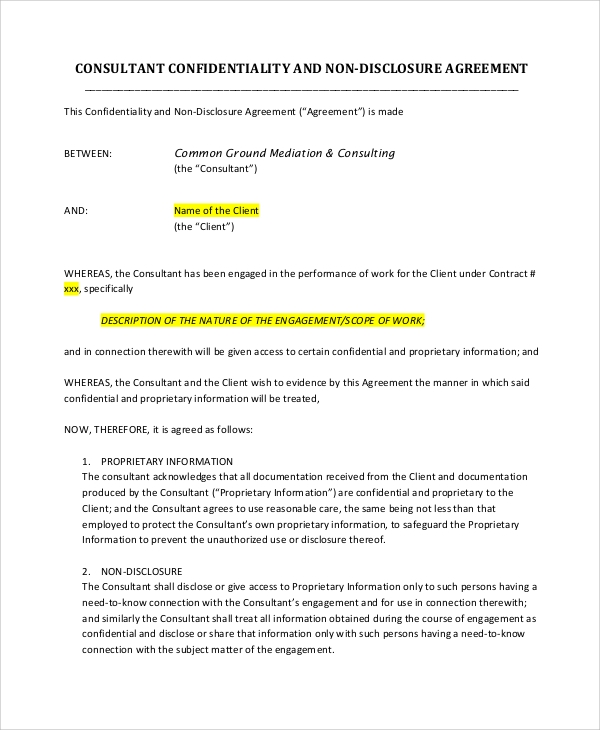 consultant confidentiality and non disclosure agreement