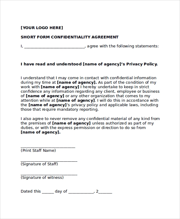 11 sample confidentiality agreement forms sample templates for Short non disclosure agreement template