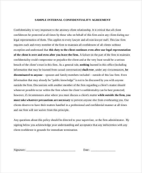 Confidentiality Agreement Sample Employee Nondisclosure And