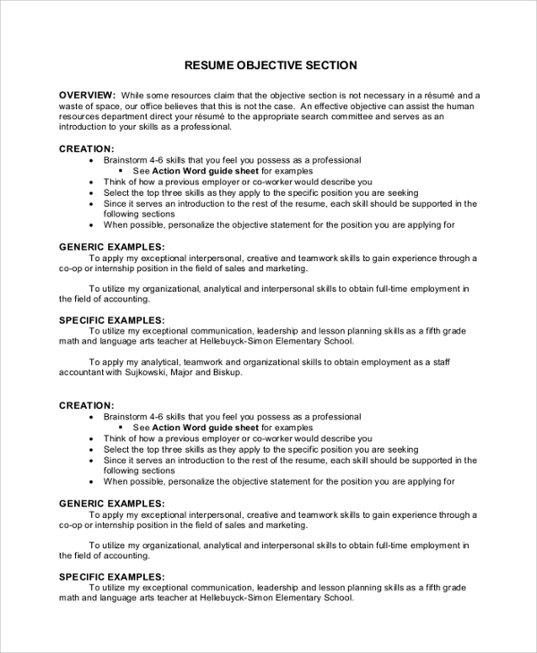 sample resume objective section - Objective Section In Resume