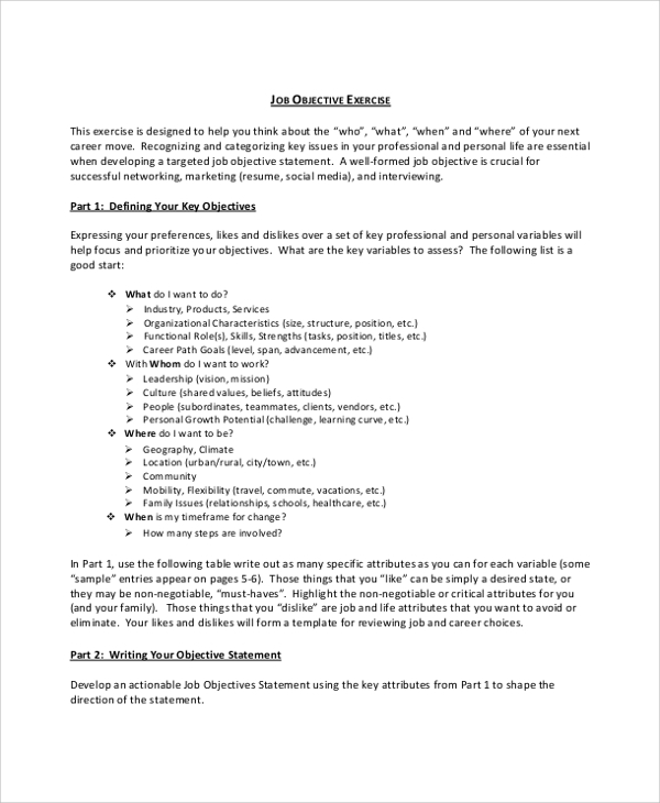 8 Objective Statement Resume Samples: 40+ Examples In PDF, Word
