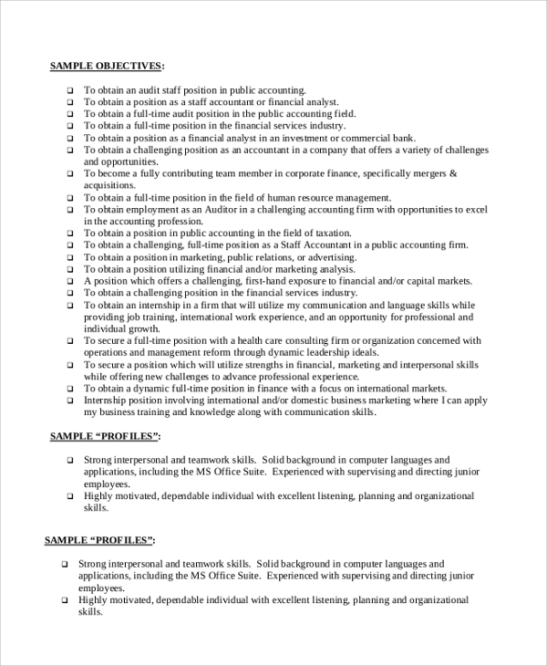 accounting resume objective 40 sample objectives sample templates 1277