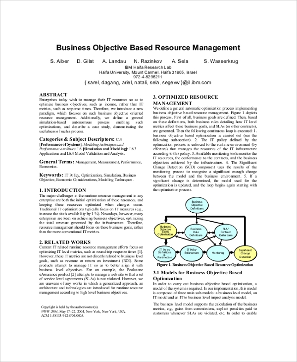 business objective based resource management