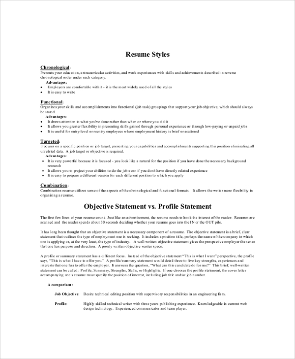 Sample objective 40 Examples in PDF Word – Resume Objective Statements