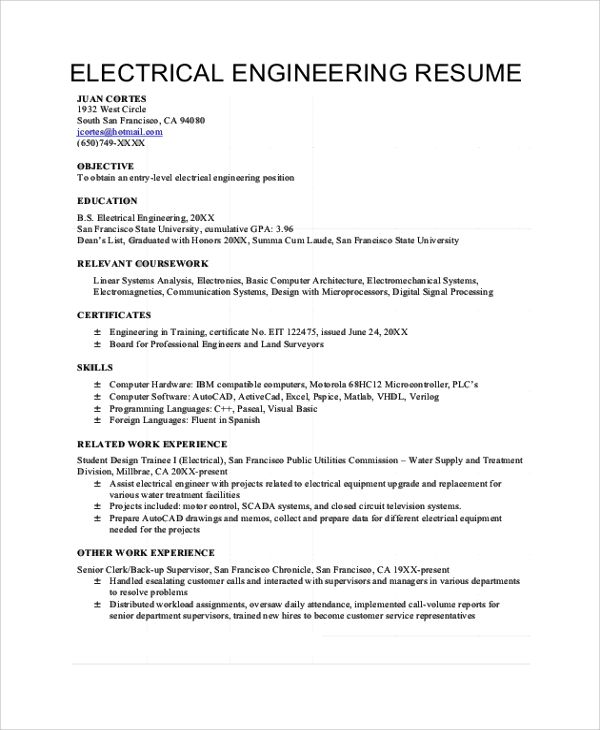40 sample objectives sample templates for Sample resume of an electrical engineer