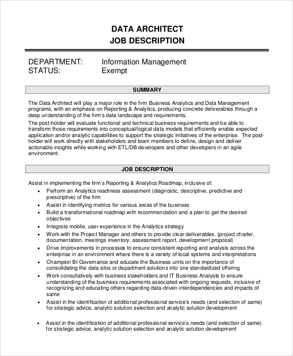 Sample Job Description - 10+ Examples In Pdf, Word
