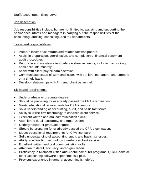 Charming Staff Accountant Entry Level Job Description Design Inspirations